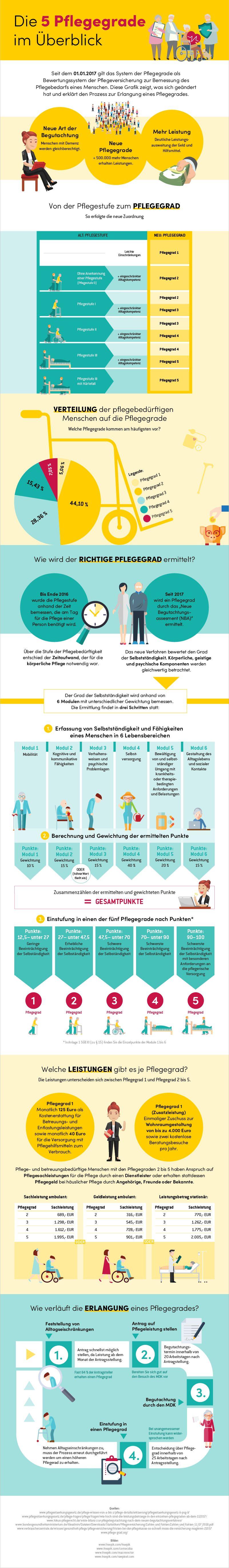 Die fünf Pflegegrade grafisch dargestellt